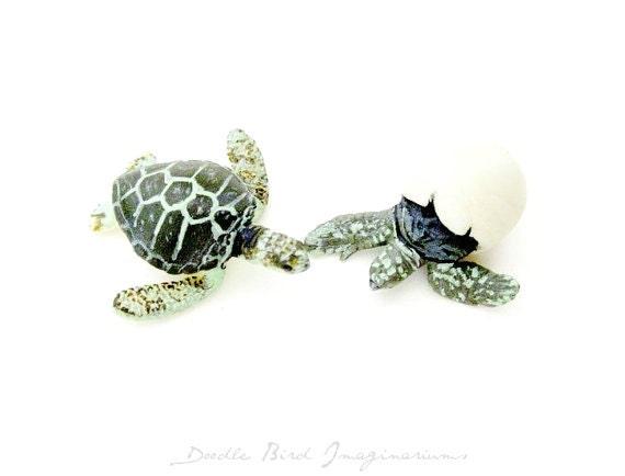 Miniature Sea Turtle Terrarium Decoration Figurine Set
