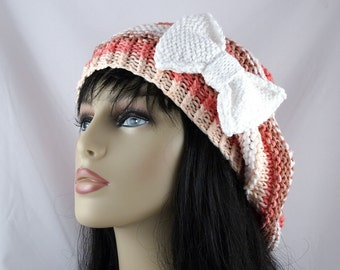 Cotton Light Weight Hand Knit Oversized Beehive Beret