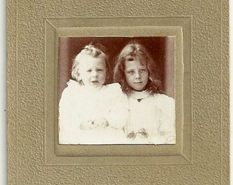 Miniature Vintage Cabinet Card Photo Sweet Little Girl With Baby Sister Photograph