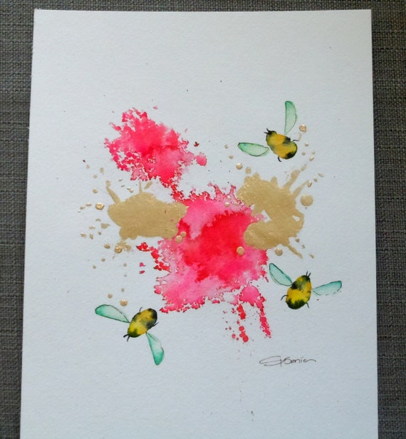 "Bee Watercolor Painting, Original, Fine Art, ""Flight of the Bumblebee No. 9"" - 12x12"