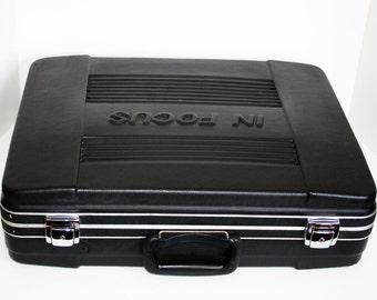 "Vintage Hard-shelled black case ""In Focus"" brand - with foam interior"