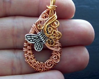 Hand Woven Copper Wire Butterfly Pendant