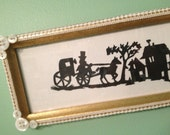 The CARRIAGE Paper Cut in Embellished Gold Frame, Scherenschnitte, Silhouette, White Lace, MOP Buttons, Horse Buggy, Transportation, S A L E