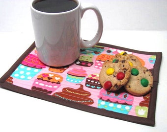 Mug Rug, Snack Mat, Mini Placemat, Cupcake, Coffee Mat, Candle Rug, Quilted, Reversible, Ready to Ship