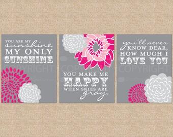 You are My Sunshine Nursery / Kids Room Giclée Art Prints // 3 Print Set // Custom match colors to your nursery/room // N-G03-3PS AA1
