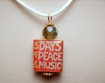 WOODSTOCK Pendant / Upcycled SCRABBLE Jewelry / Necklace with Satin Cord / Charm / Beaded / 1960s Peace