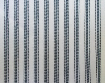 56 Inch Wide Yarn Dyed Cotton Navy Blue and White Ticking Stripe Fabric By the Yard