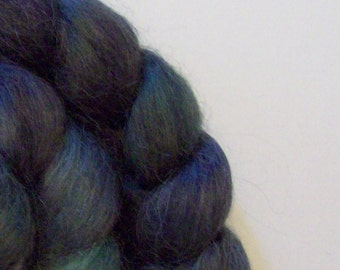 "Kid PlusTop / Roving -  2 oz braid handpainted colorway ""Black Watch"" Kid Mohair Nylon"