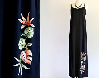 90s Black Rayon Floral Accent Sequin Beaded Tropical Resort Slip Maxi Sun Dress . S/M . D078 . No.14.1.7.13