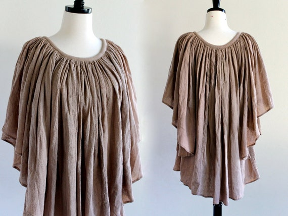 Amazing Draped Gauze Flutter Angel Sleeve Boho Tent Hippie Festival Gypsy Blouse Top . Free Size . D150 . No. 19.1.8.13