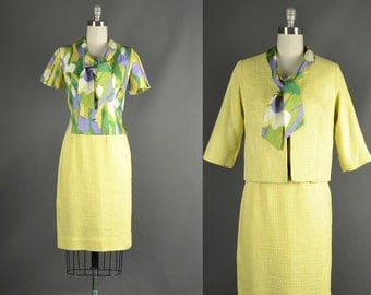 Vintage 1960s Dress / silk floral dress / 60s Dress / floral silk designer 3 piece suit buttercup yellow