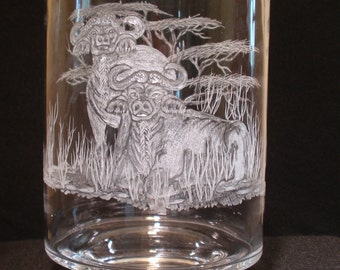 Etched Glass, Cape Buffalo, Candle holder, African Big Five, Hand carved glass, Home decor, Wedding gift, housewarming gift, herd, horns,