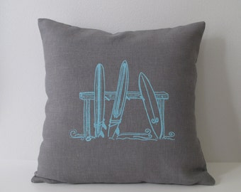Pillow Cover - Cushion Cover - Three Surfboards design - 16 x 16 inches - Choose your fabric and ink color - Accent Pillow