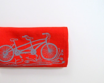 Linen Tea Towel - Tandem Bicycle Kitchen Towel - Choose your fabric and ink color