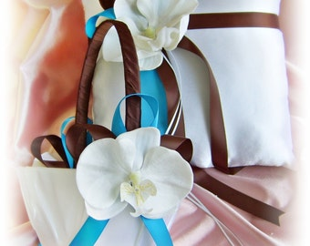 Chocolate brown and turquoise wedding ring pillow and basket, silk orchids wedding ring cushion and basket set