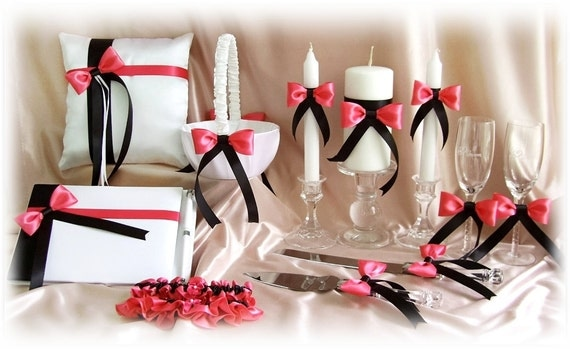 Coral Reef and Black Wedding Basket Pillow Guest Book