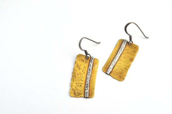 Brass Earrings with Hammered Silver Stripes, a Brushed Patina, and Sterling Silver Ear Wires, Where you draw the line