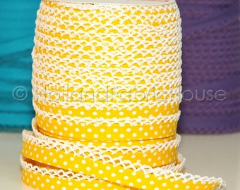 Bias Tape Double Fold Yellow Polka Dot Cotton and Crochet Lace