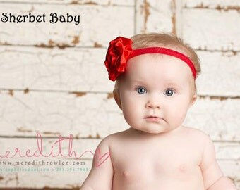 Any Color Rolled Ribbon Rose Headband Match up to Any Color Sassy Pants Ruffled Diaper Cover Bloomers