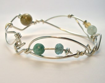 Sterling Bangle Bracelet, OOAK Gemstone Silver Original Sculptural Design, Abstract, Modern, Asymmetric-Organic Wrist Wrap