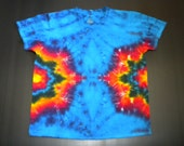 Tie Dye Shirt, V Neck, Double Side Mandala Burst, Size XL
