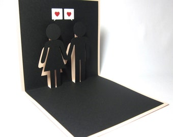 Boy Girl (Toilet signs) Love Pop Up Card