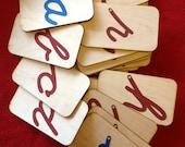 Lowercase Cursive Sandpaper Letters on Birch Wood