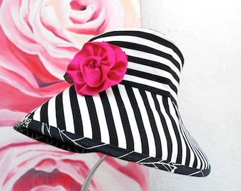 REVERSIBLE SUN Hat- Summer Hat---Black & White Stripe Floral Print Summer Hat---SunHat....