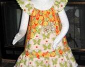 Citrus Colors Girls Ruffled Boutique Dress, Front pocket Pullover Style, Yo-yo trim-Size 5-7