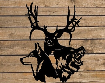 Wolf Deer Bear Metal Wall Art (R4)