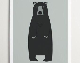 Modern Bear Art by ModernPOP - Bear Wall Decor - Animal Art for Kids - Art for kids room