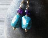 turquoise earrings with amethyst - February and December birthstone earrings - ACF magazine - turquoise amethyst & gold dangle earrings SALE