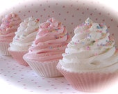 "Fake Cupcakes Standard ""Pink and White Cupcake Collection"" Set 5 Fabulous Photo Props, Cupcake Topper Props, Bakery Decor, House Staging"