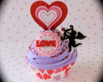 """Fake Cupcake """"Cupid and Heart Cupcake"""" with Heart Cupcake Liner Fab V-Day Gift. Valentine Gift for Teacher, Students, Cupcake Lovers"""