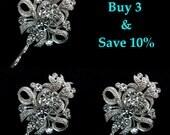 Bridesmaid Hair Pins, Mini Crystal Bridal Hair Jewelry, Swarovski Headpieces, Victorian Wedding, Fleur De Lis Bobby Pins, ROYCE 3