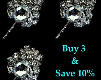 Bridesmaid Hair Pins, Crystal Bridal Headpieces, Art Nouveau Wedding Hair Pins, Swarovski Bridal Hair Jewelry, Gift for Her, LENA 3