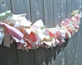 Pastel Garland, Babyshower Bunting, Girls Pink Banner, Pink Photo Backdrop, Shabby Decor, Cottage Wall Hanging, Reclaimed Rag Tie,