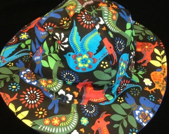 Reversible girls sunhat sizes newborn to adult