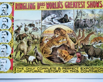 Vintage Wild Animals Ringling Brotehrs Circus Poster Size Book Plate