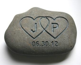 Interlocking Hearts Engraved Oath Stone Initials Date Custom Oathing Weddings