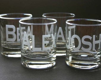 Custom Etched Rocks Glass Personalized High Ball Set of 7