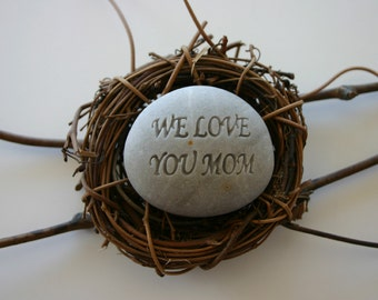 Custom Engraved White Stone Personalized Birds Nest