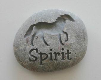 Custom Engraved Horse Memorial Stone Pet Loss River Rock Grave Stone Marker