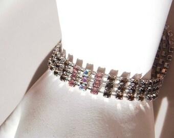 Vintage signed liz claiborne Triple strand Bracelet Pink AB Stones