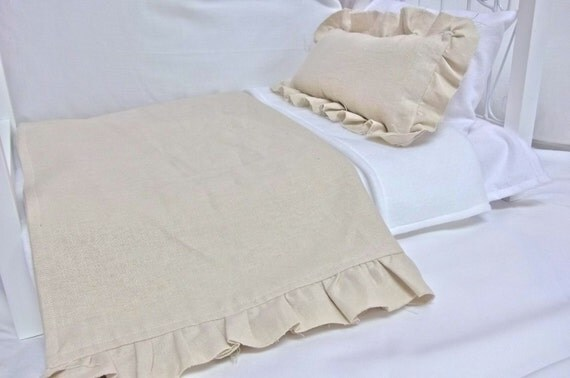 """American Girl 18"""" doll French Inspired Linen Look Bedding Set"""
