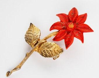 Virgin Mary Brooch Enamel Flower Pin - Orange & Gold Unique Religious Jewelry