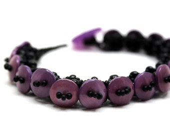 Beaded Bracelet Purple Button by randomcreative on Etsy