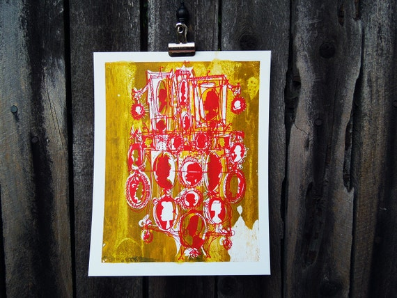 """quirky art silkscreen print Cameo silhouettes: poppy red / mustard yellow (8x10"""")"""