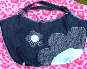 LARGE denim applique beach / shopping, picnic tote bag