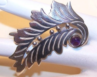 Vintage STERLING SILVER & Amethyst Leaf Pin from Taxco, Mexico....